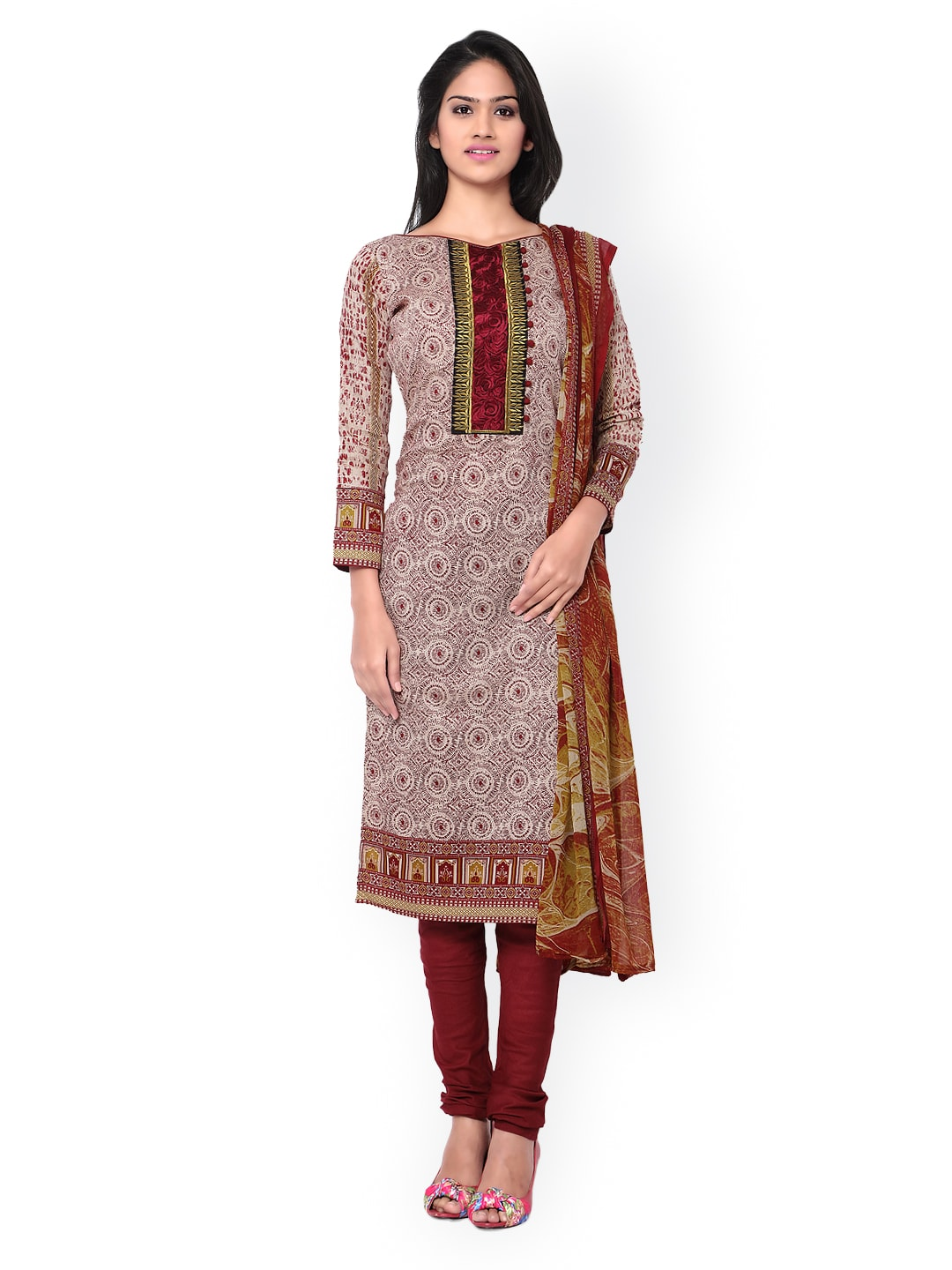 Inddus Maroon & Beige Block Print Cotton Unstitched Dress Material image