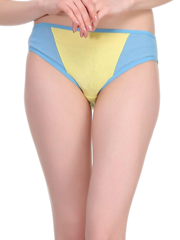 Clovia Women Blue & Yellow Briefs PN0573P02XL image