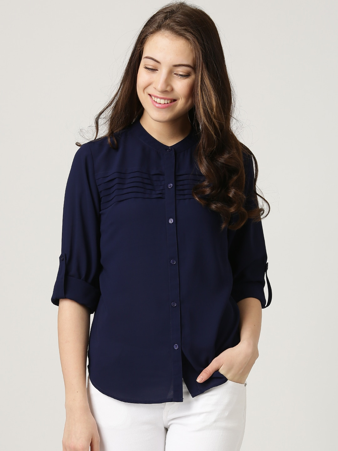 Get 50% off on Marie Claire Navy Crepe Shirt