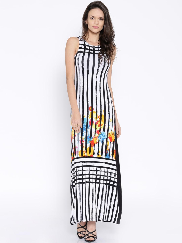 AND Black & White Striped Maxi Dress image