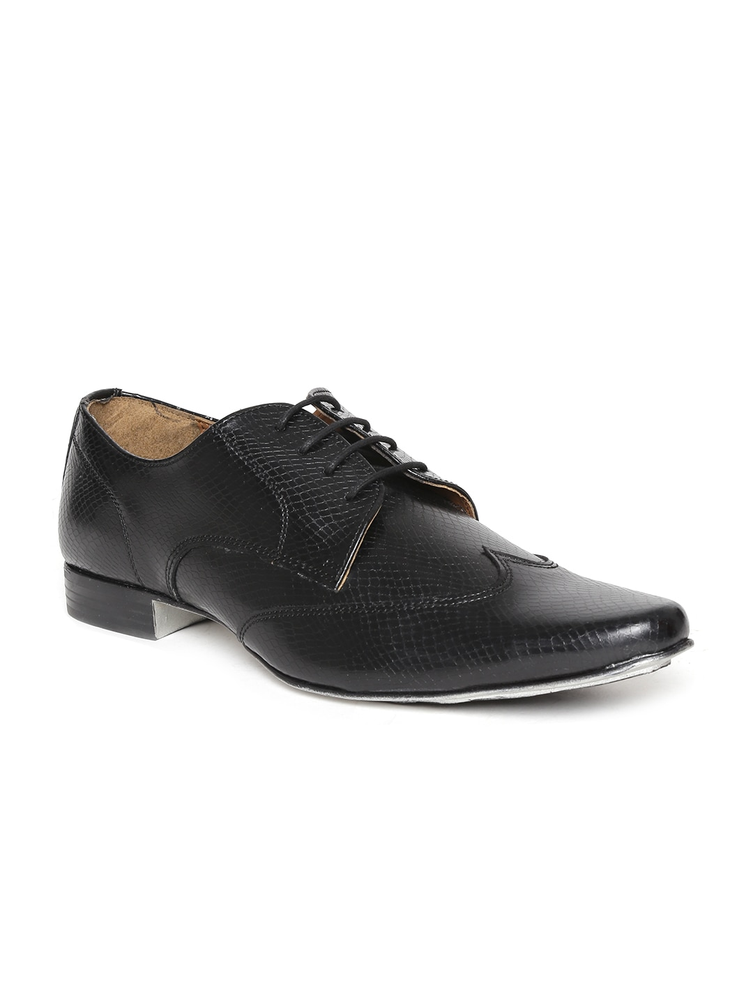 Knotty Derby by Arden Men Black Textured Formal Shoes image