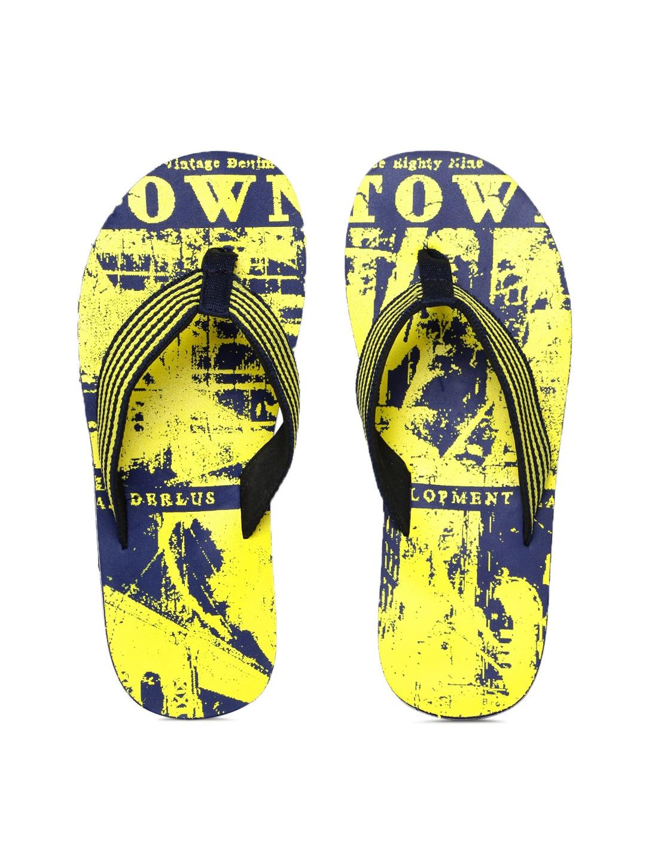 Killer Men Yellow & Navy Striped & Printed Flip-Flops image