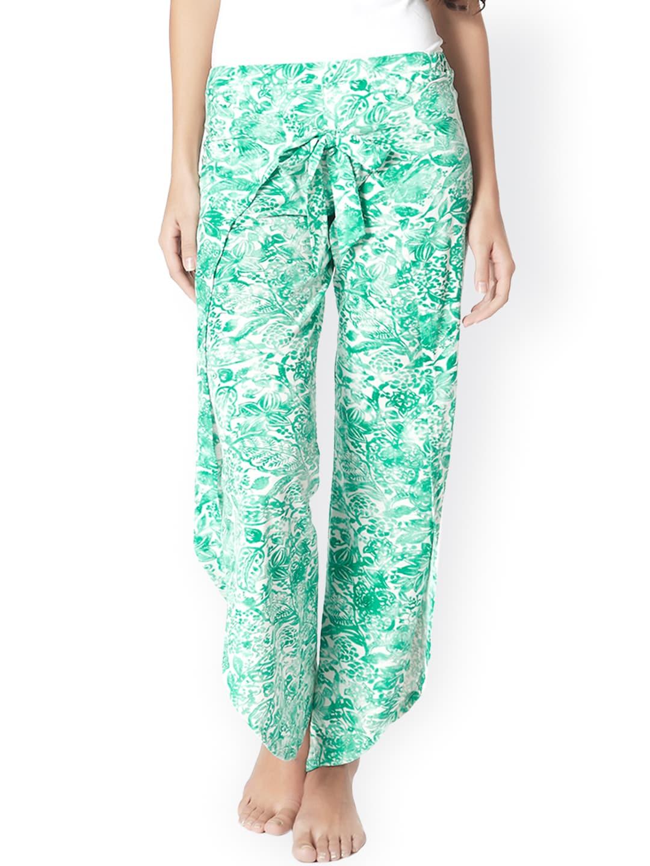 Mystere Paris White & Green Printed Lounge Pants image