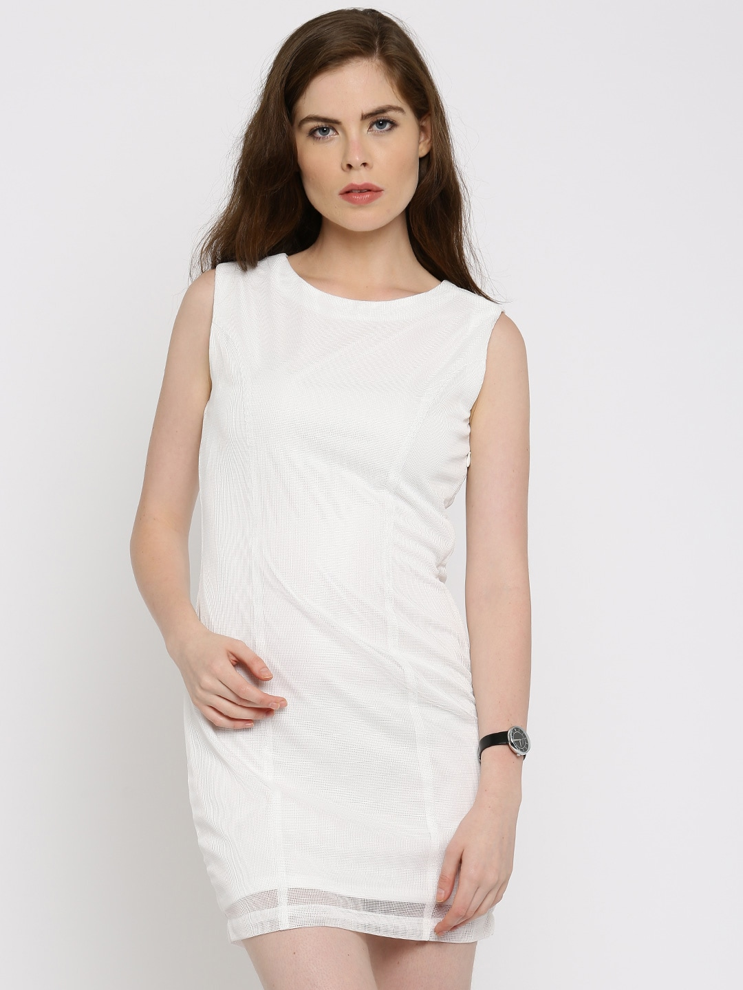 Allen Solly Woman White Solid Net Bodycon Dress image