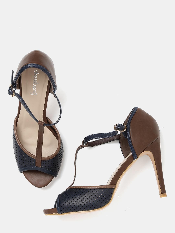 DressBerry Women Navy & Brown Slim Heels image