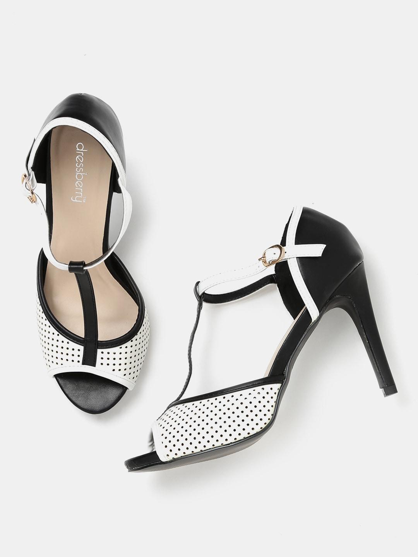DressBerry Women Black & White Monochrome Slim Heels image