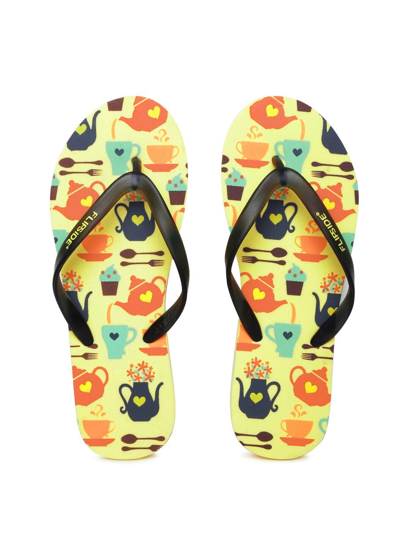 Flipside Women Black & Yellow Printed Flip-Flops image