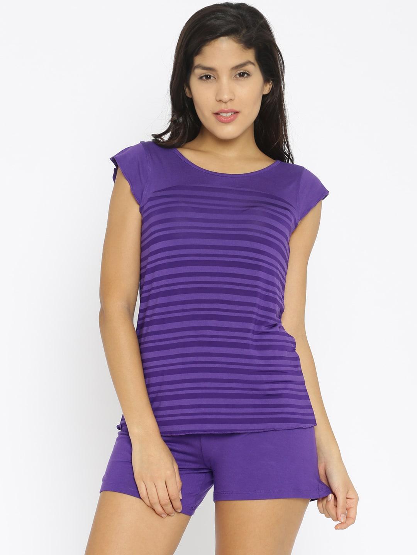 Enamor Purple Striped Lounge Set TP36 image