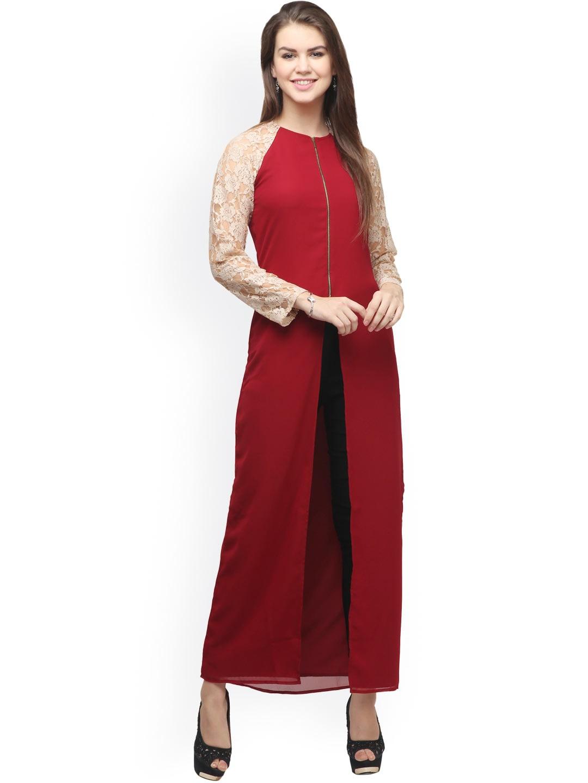 Eavan Maroon & Beige Lace Georgette Maxi Top Price in India