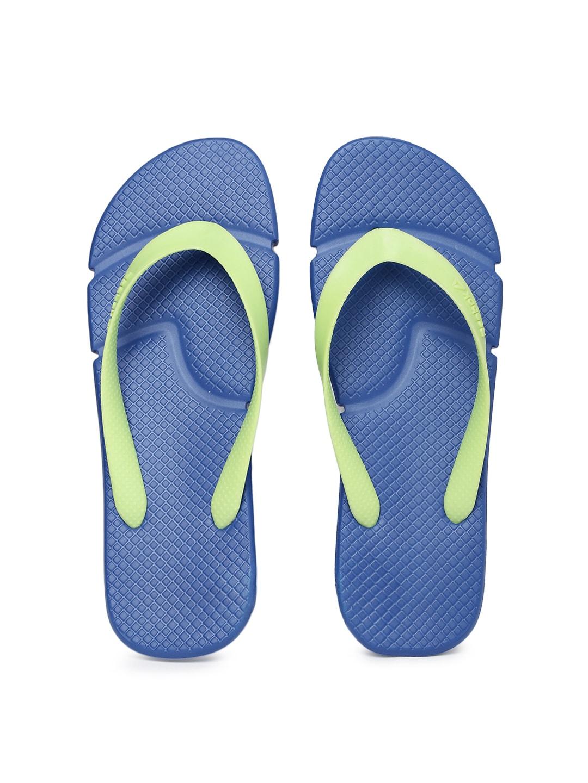Reebok Unisex Fluorescent Green & Blue FRESCO Flip-Flops image