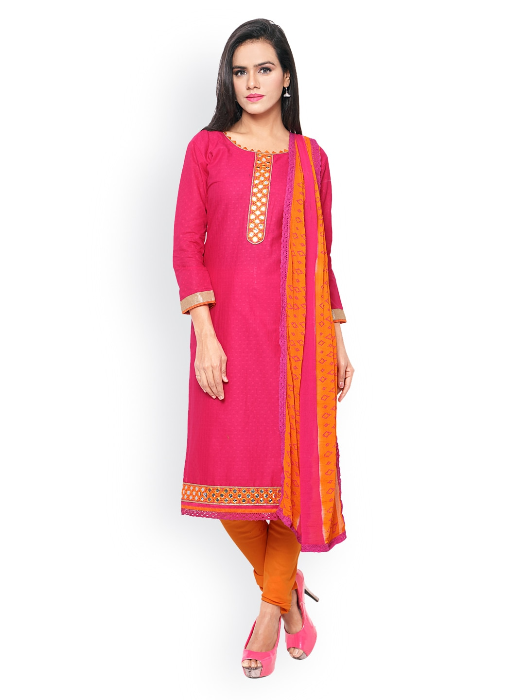 Saree mall Pink & Orange Patterned & Embellished Cambric Cotton Unstitched Dress Material image