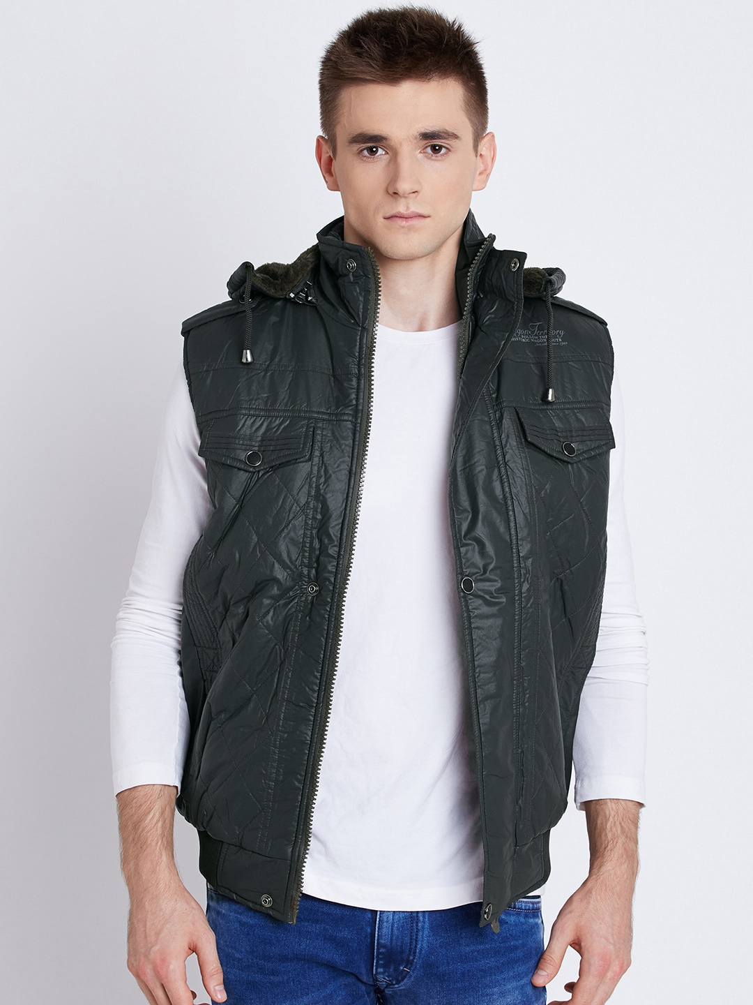 Fort Collins Green Sleeveless Quilted Jacket with Detachable Hood image