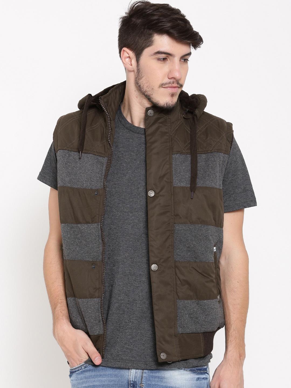 Fort Collins Coffee Brown & Grey Melange Sleeveless Bomber Jacket with Detachable Hood image