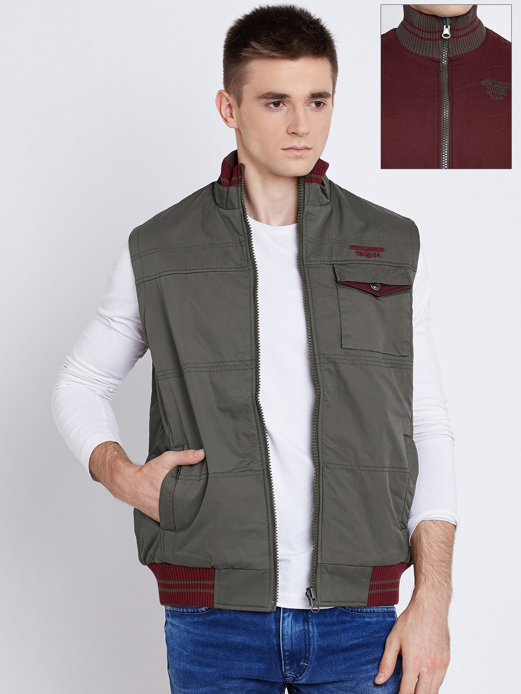 Fort Collins Olive Green & Burgundy Sleeveless Reversible Jacket image