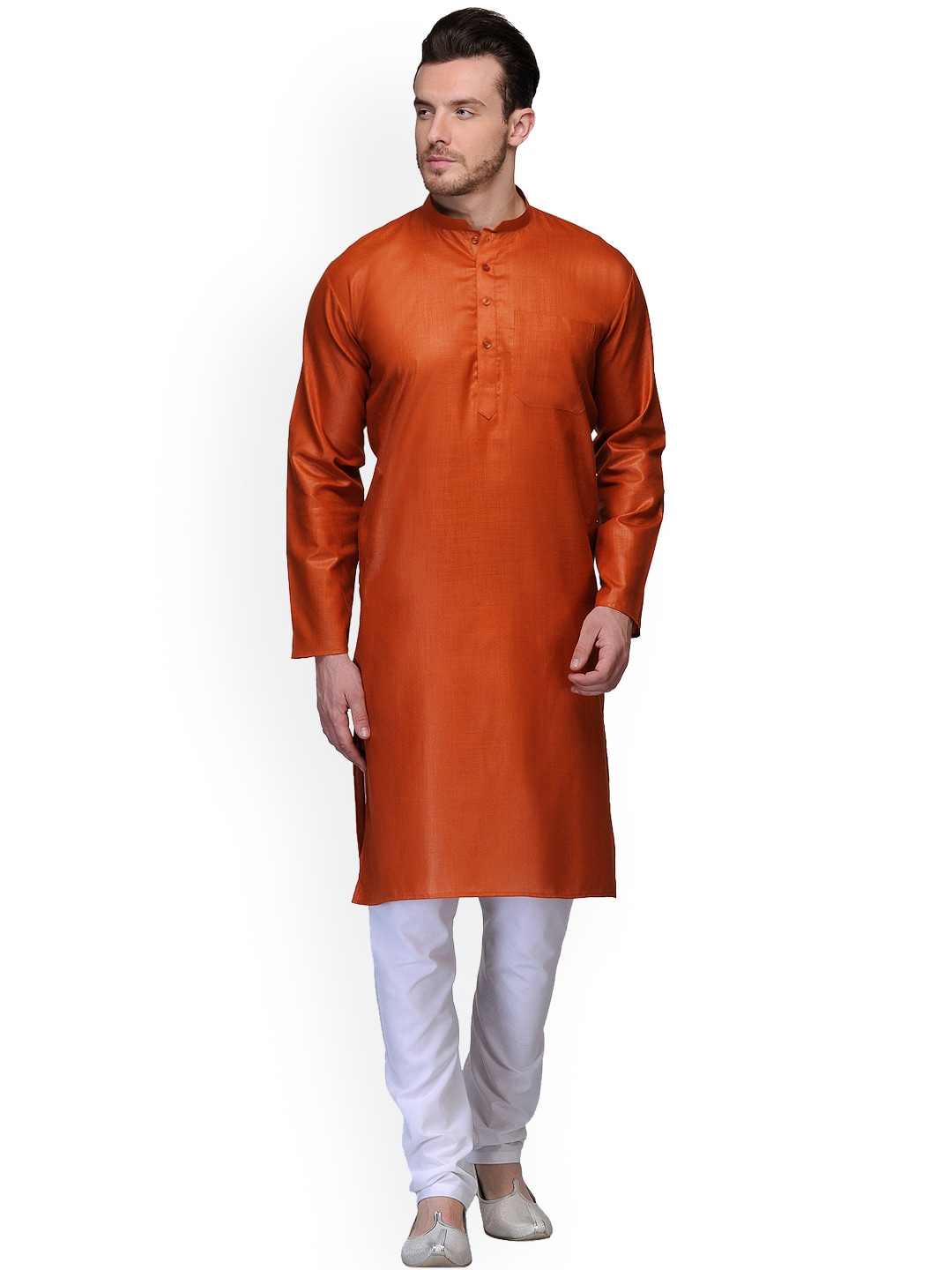 akavya Rust Orange & White Kurta Pyjama image
