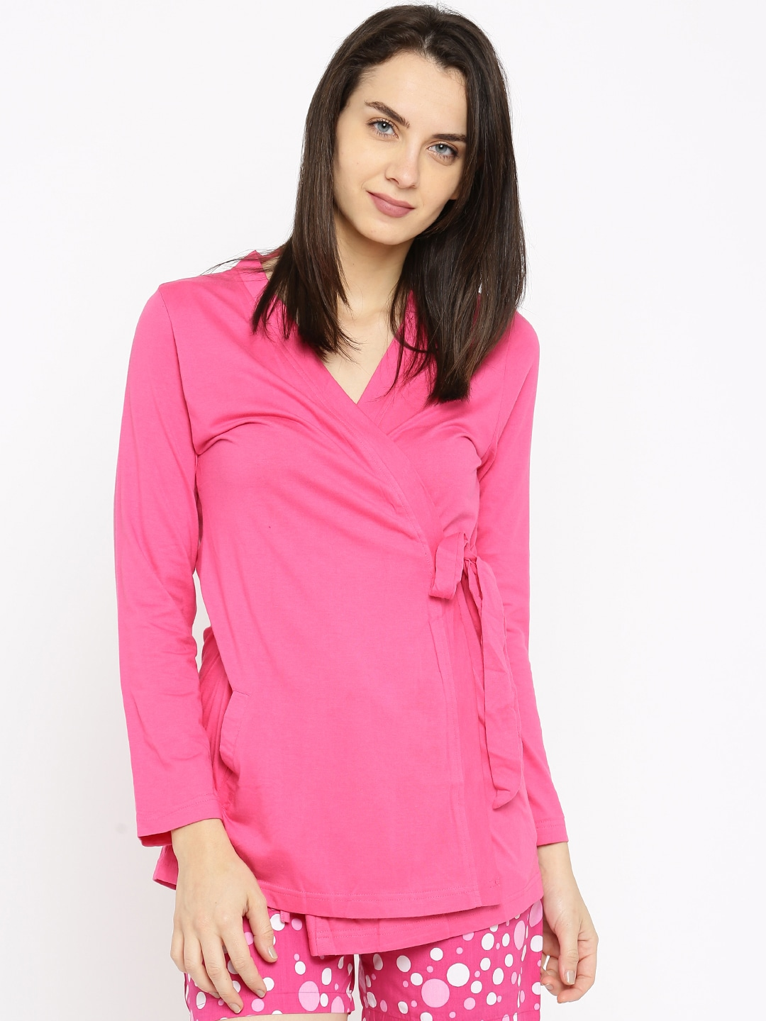 Kanvin Pink Wrap-Around Lounge Top KSS16287A image