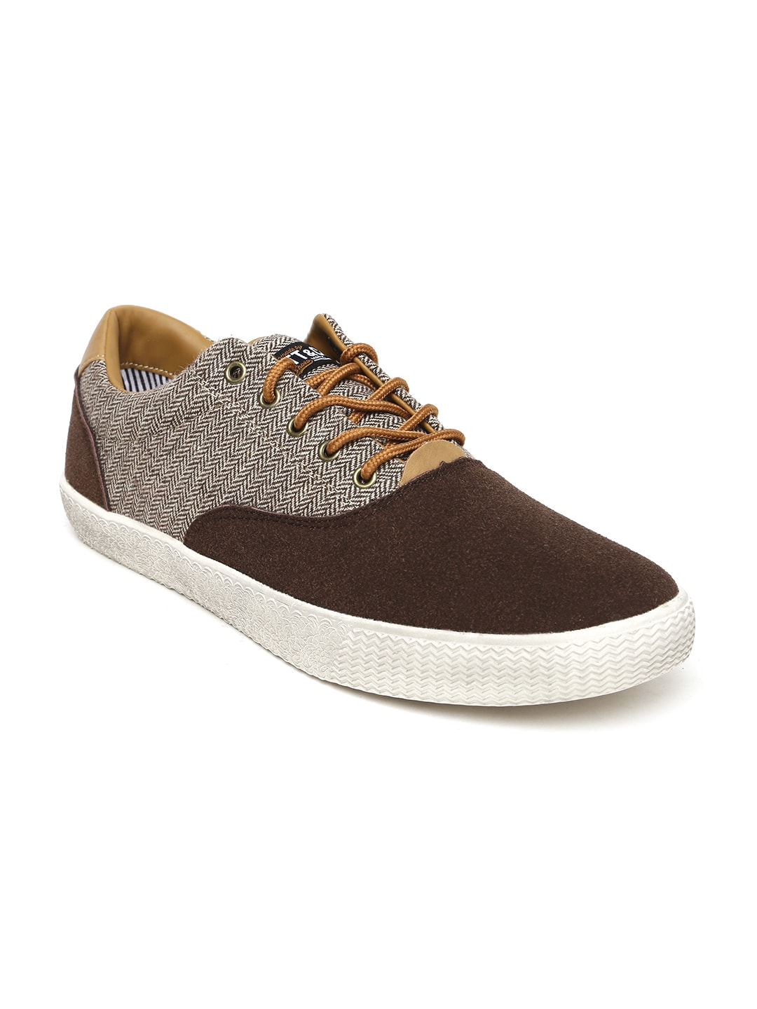 ALCOTT Men Brown Herringbone Pattern Sneakers image