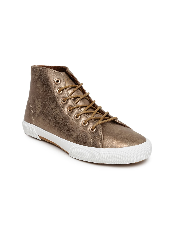 ALCOTT Women Bronze-Toned Scarpa Laccata Mid-Top Sneakers image