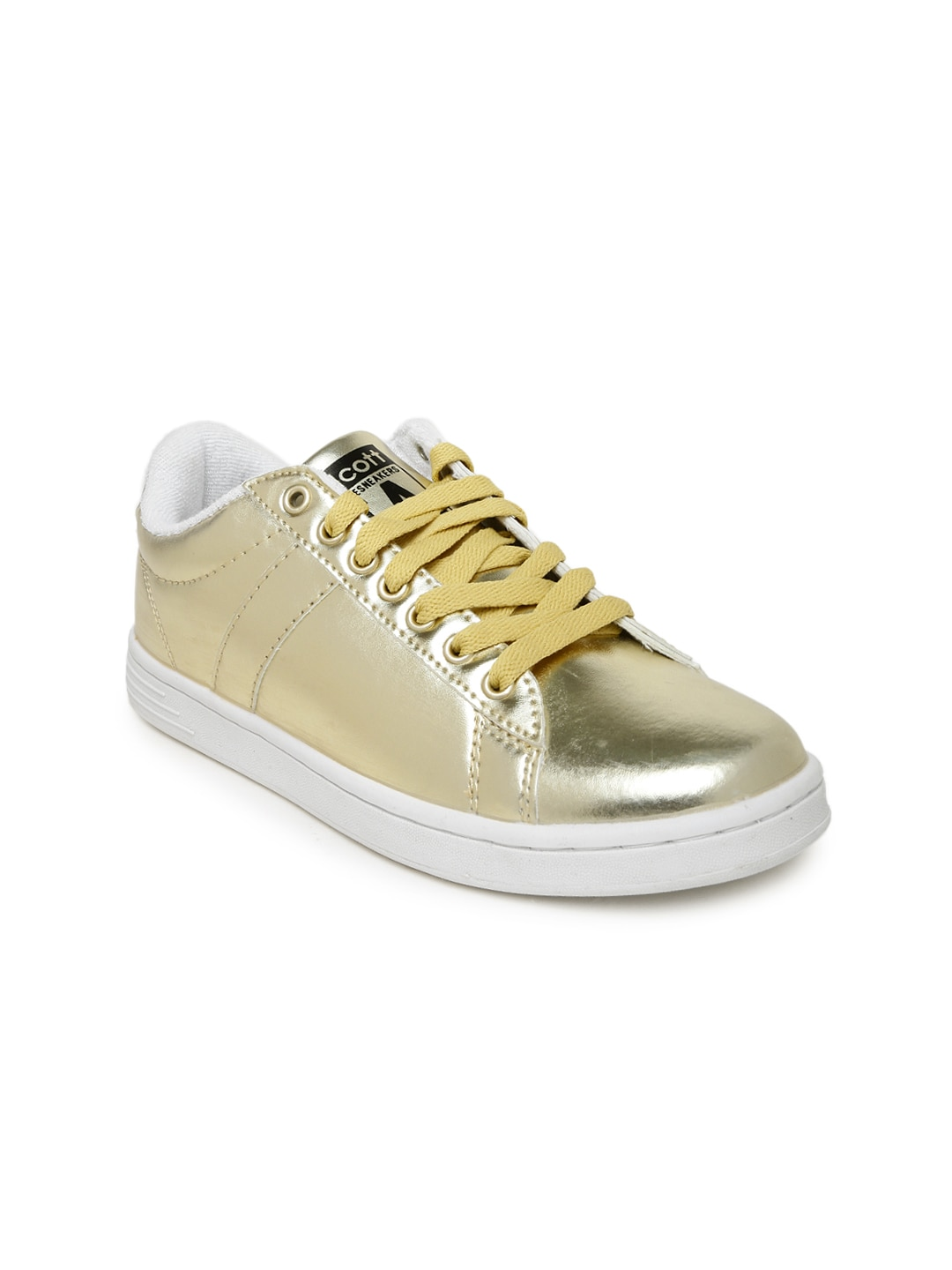 ALCOTT Women Muted Gold-Toned Scarpa Ginnica Sneakers image