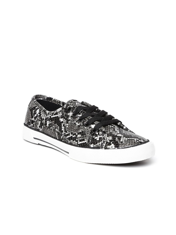 ALCOTT Women Charcoal Grey Snakeskin-Textured Sneakers image