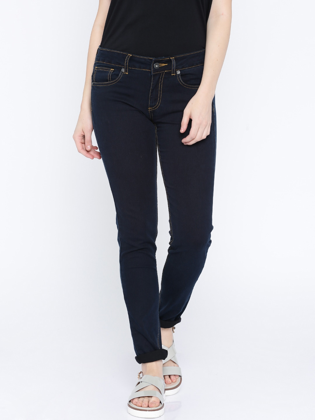 Pepe Jeans Women Blue Lola Skinny Fit Mid-Rise Clean Look Jeans image