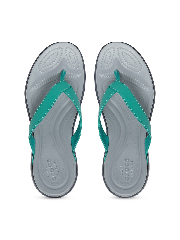 Crocs Women Teal Green & Grey Flats image
