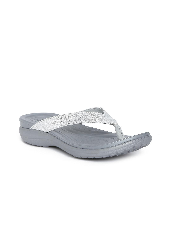 Crocs Women Silver-Toned & Grey Flats image