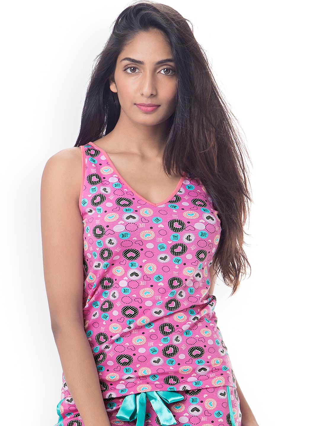 PrettySecrets Pink Printed Lounge Top image