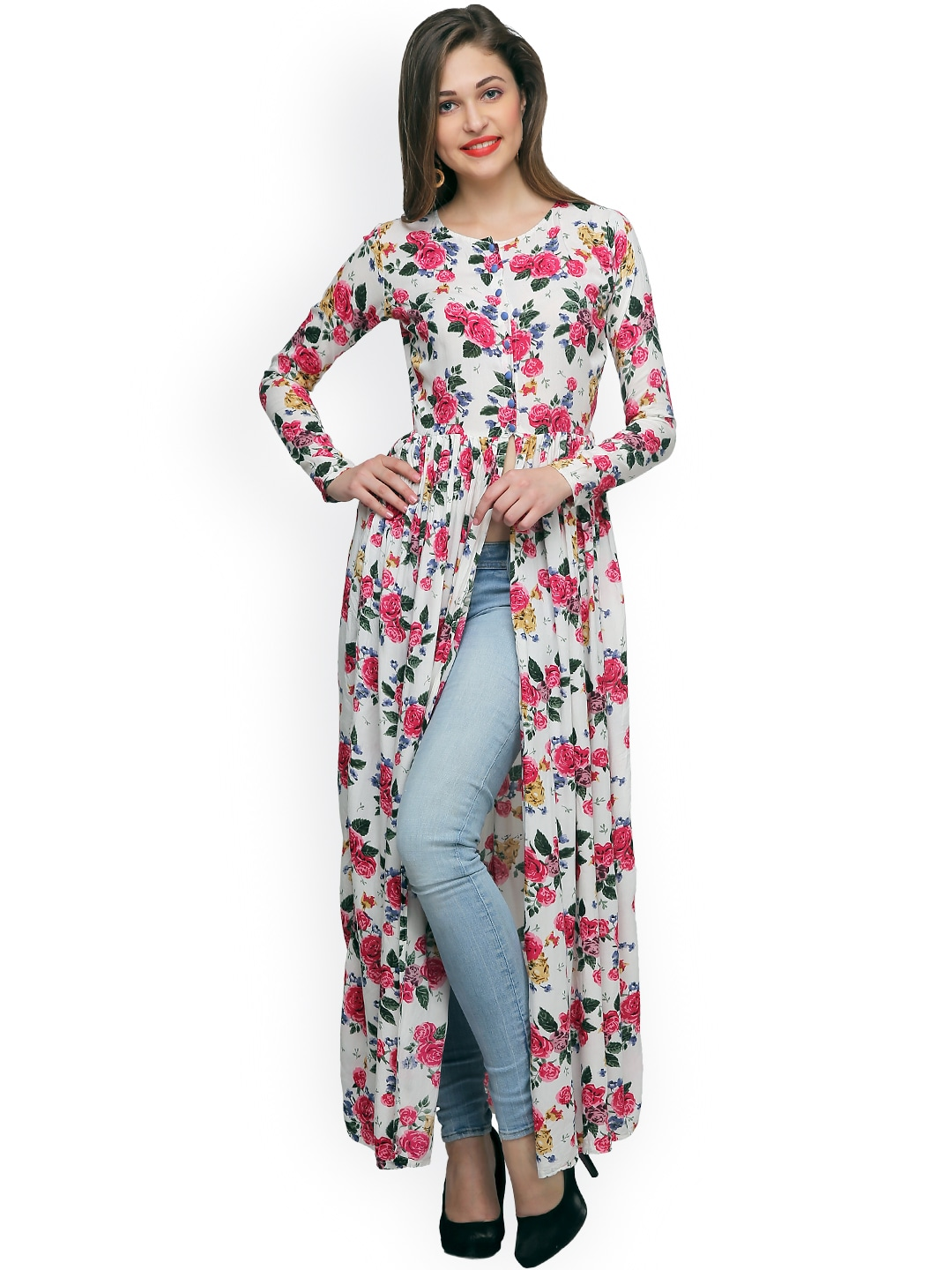 Cation Women White Printed Maxi Top Price in India