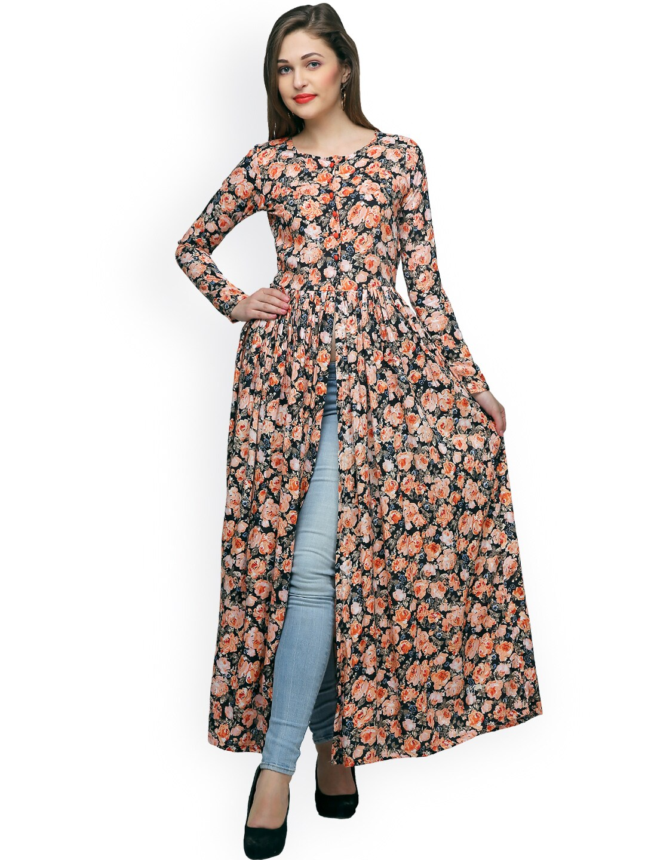 Cation Women Black & Orange Printed Maxi Top Price in India