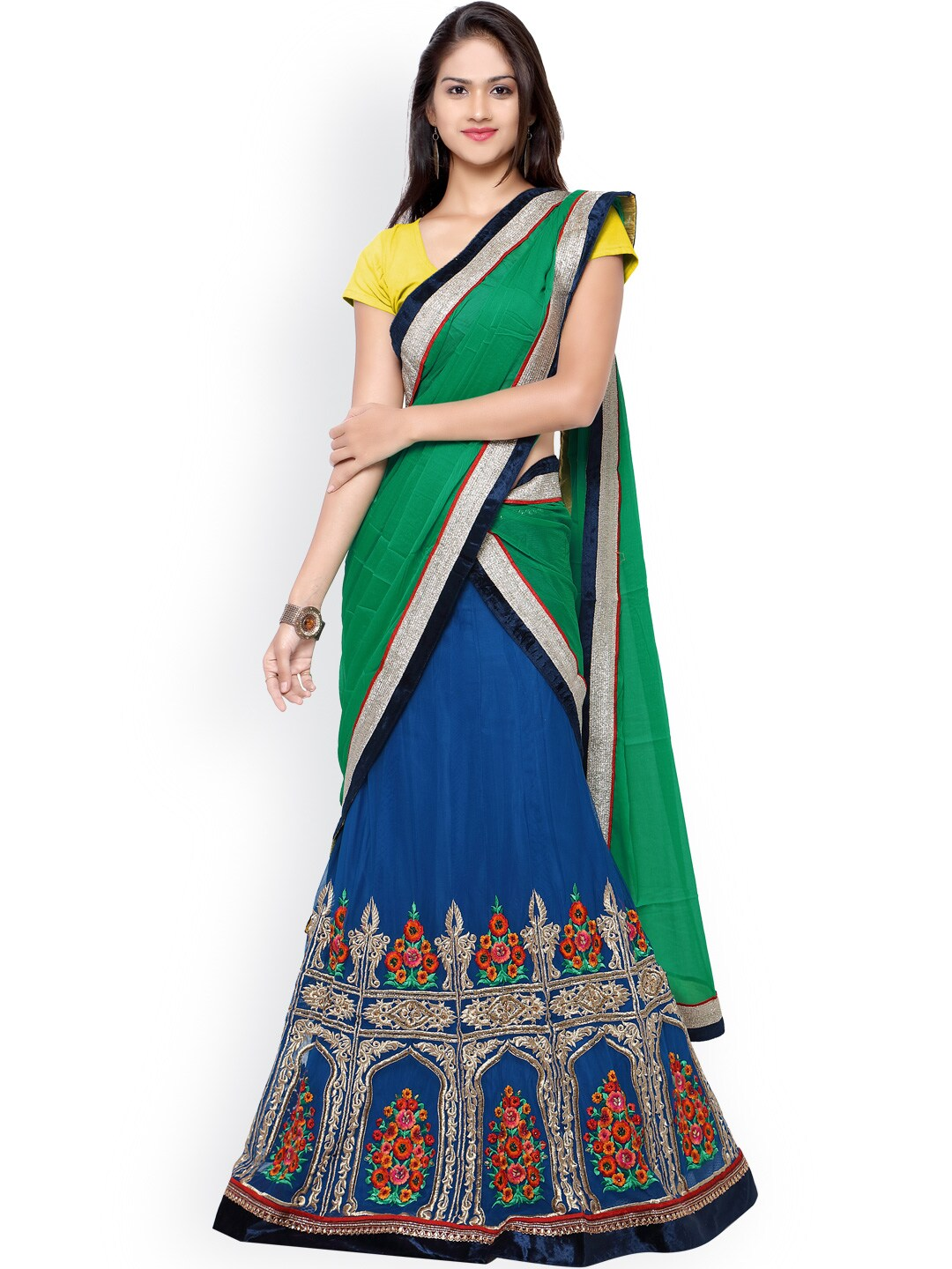 Touch Trends Yellow & Blue Embroidered Net Semi-Stitched Lehenga Choli with Dupatta image