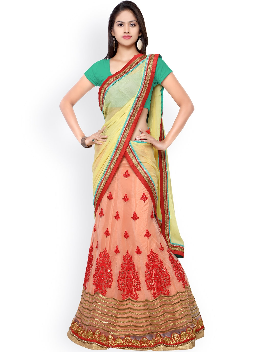 Touch Trends Green & Peach-Coloured Embroidered Semi-Stitched Lehenga Choli with Dupatta image