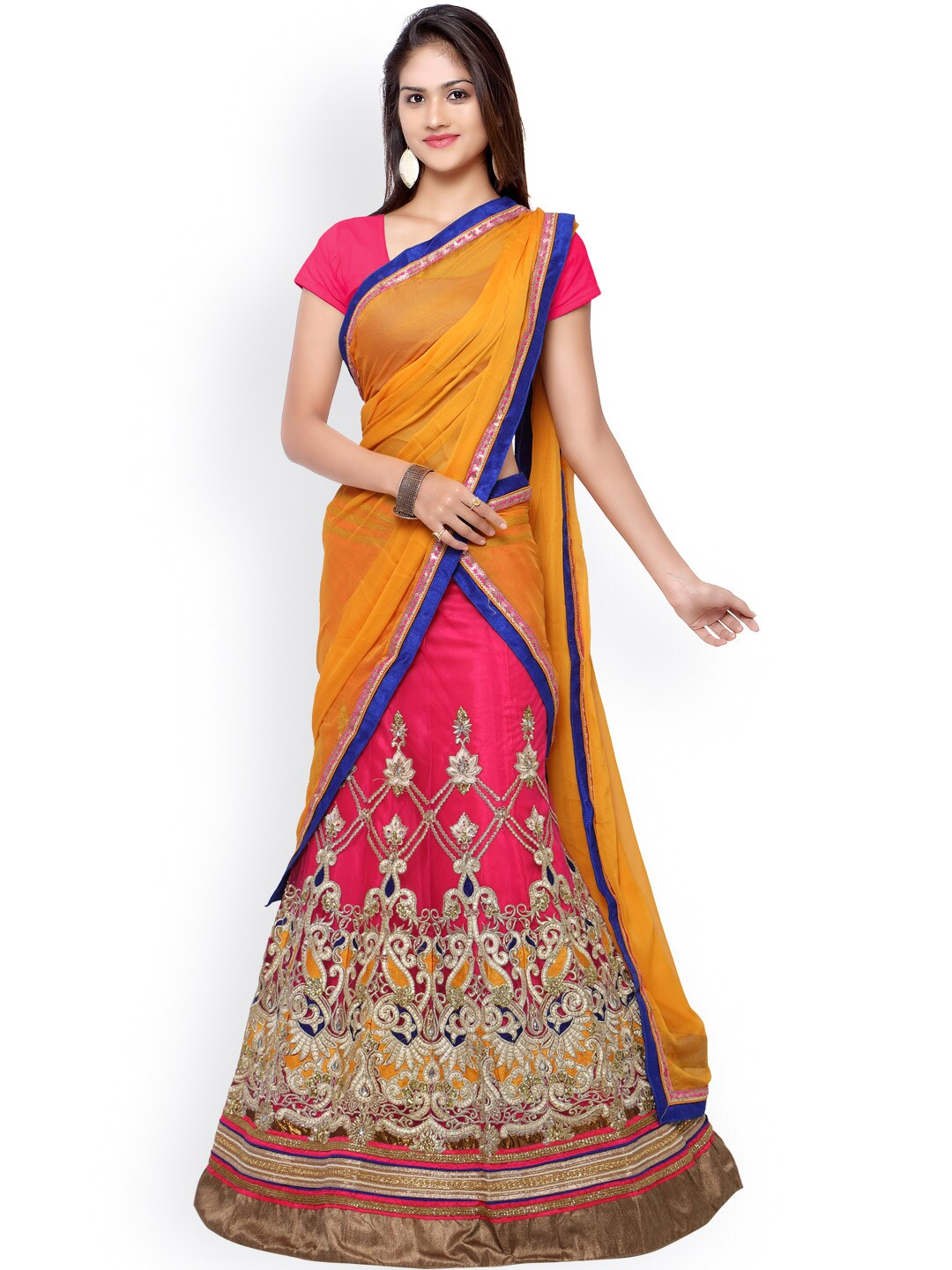Touch Trends Pink & Orange Embroidered Net Semi-Stitched Lehenga Choli with Dupatta image