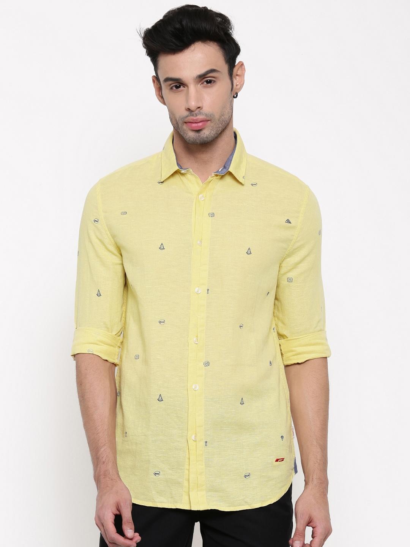 Jack & Jones Men Yellow Slim Fit Printed Casual Shirt image