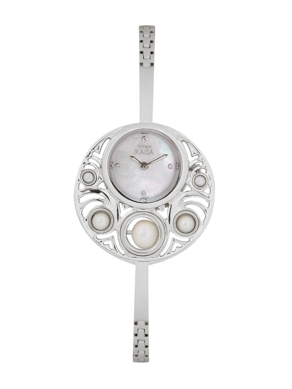 Titan Raga Women Pearly White Beaded Analogue Watch 9972SM01J