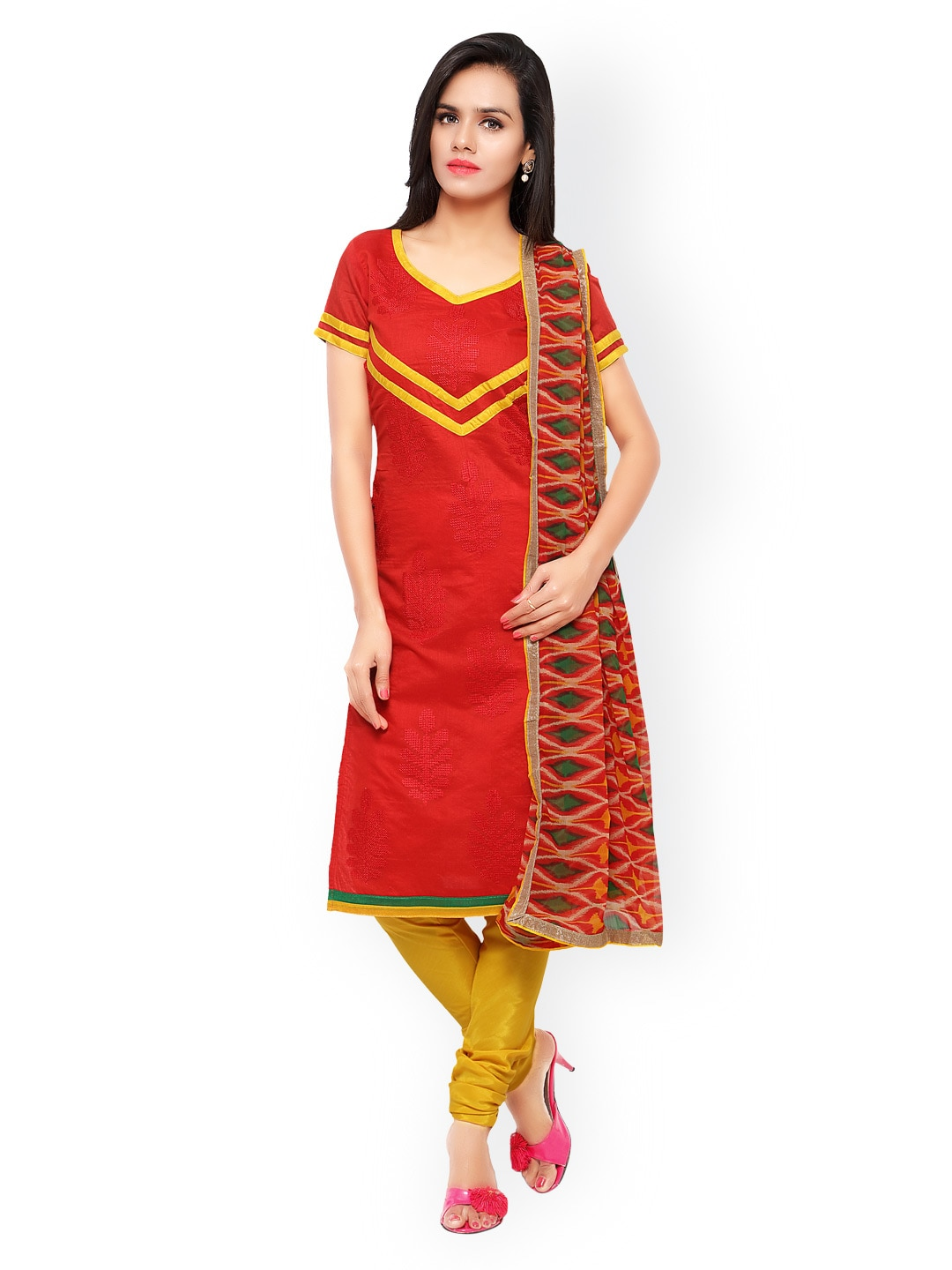 Touch Trends Red & Yellow Embroidered Chanderi Silk Unstitched Dress Material image