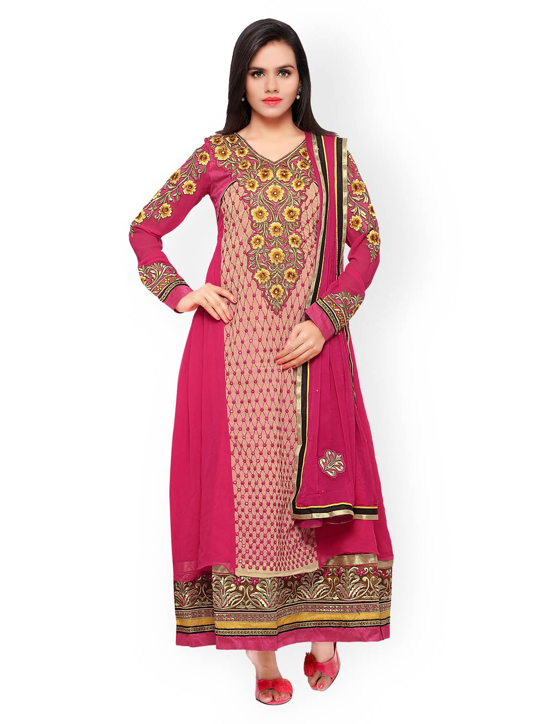 Touch Trends Pink Embroidered & Sequinned Georgette Semi-Stitched Dress Material image