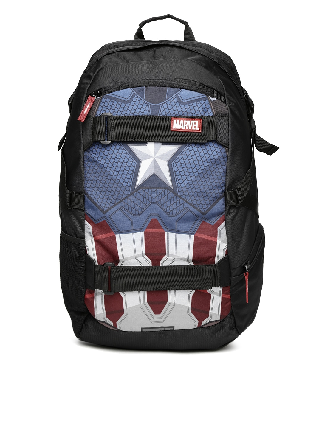 Buy Kook N Keech Marvel Unisex Black & Navy Captain America Star Printed Backpack Online at Best Price in India