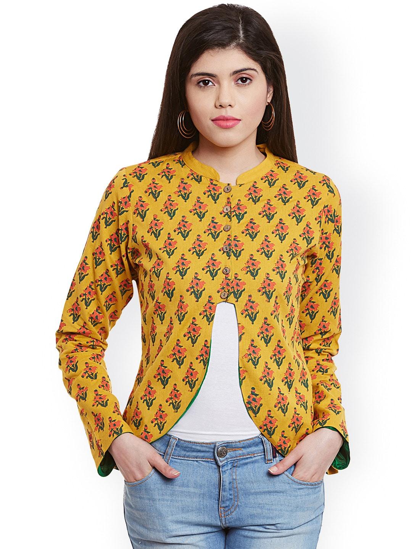 Bitterlime Mustard Yellow Floral Print Jacket