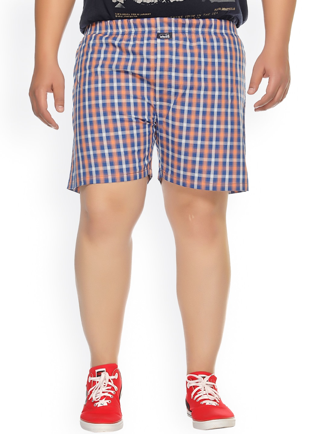 plusS Blue Checked Boxers MBX208 image