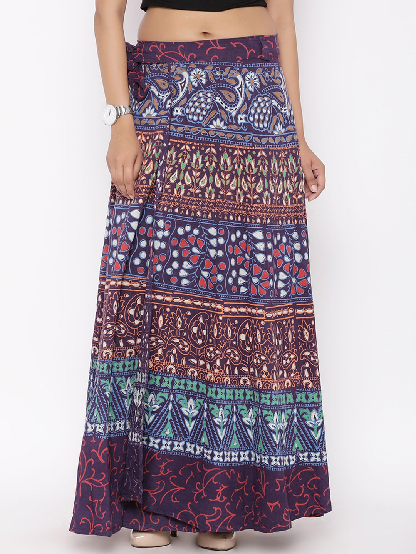 SOUNDARYA Purple Printed Wrap-Around Maxi Skirt image
