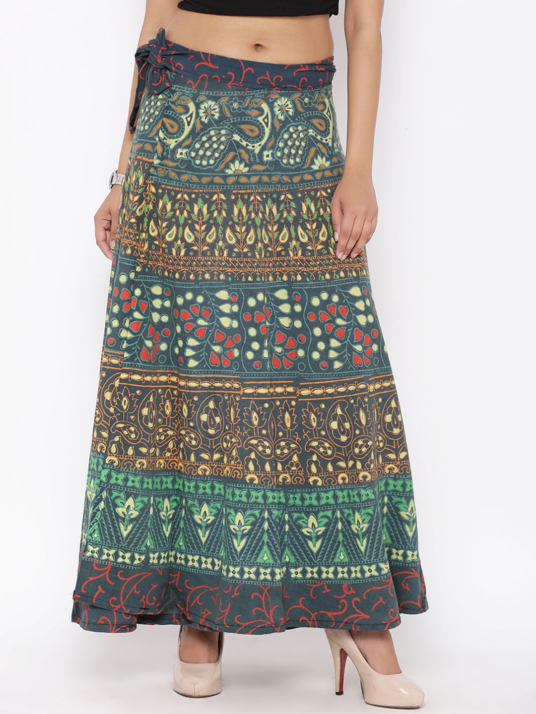 SOUNDARYA Green Printed Wrap-Around Maxi Skirt image
