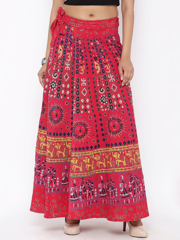 SOUNDARYA Red Printed Wrap-Around Maxi Skirt image