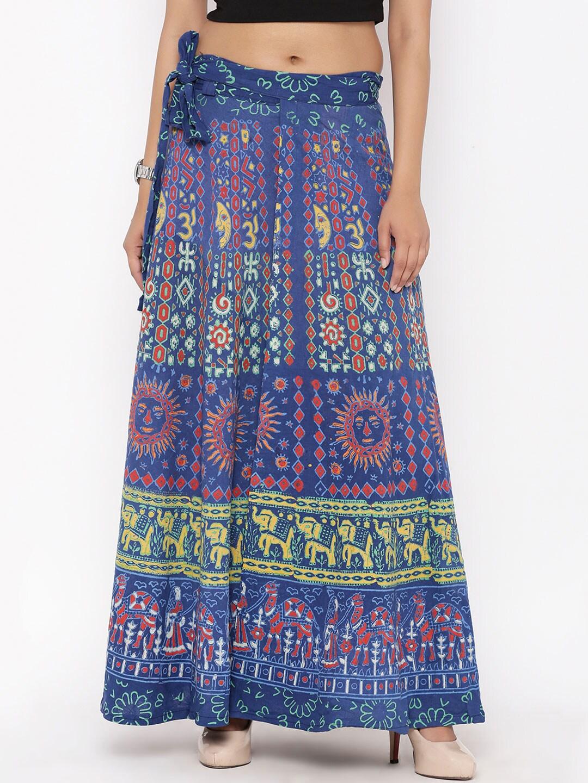 SOUNDARYA Blue Printed Wrap-Around Maxi Skirt image