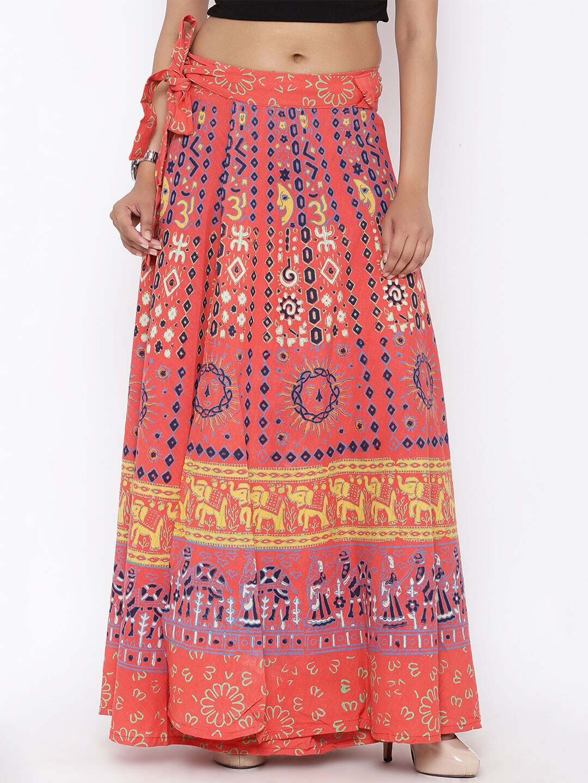 SOUNDARYA Orange Printed Wrap-Around Maxi Skirt image