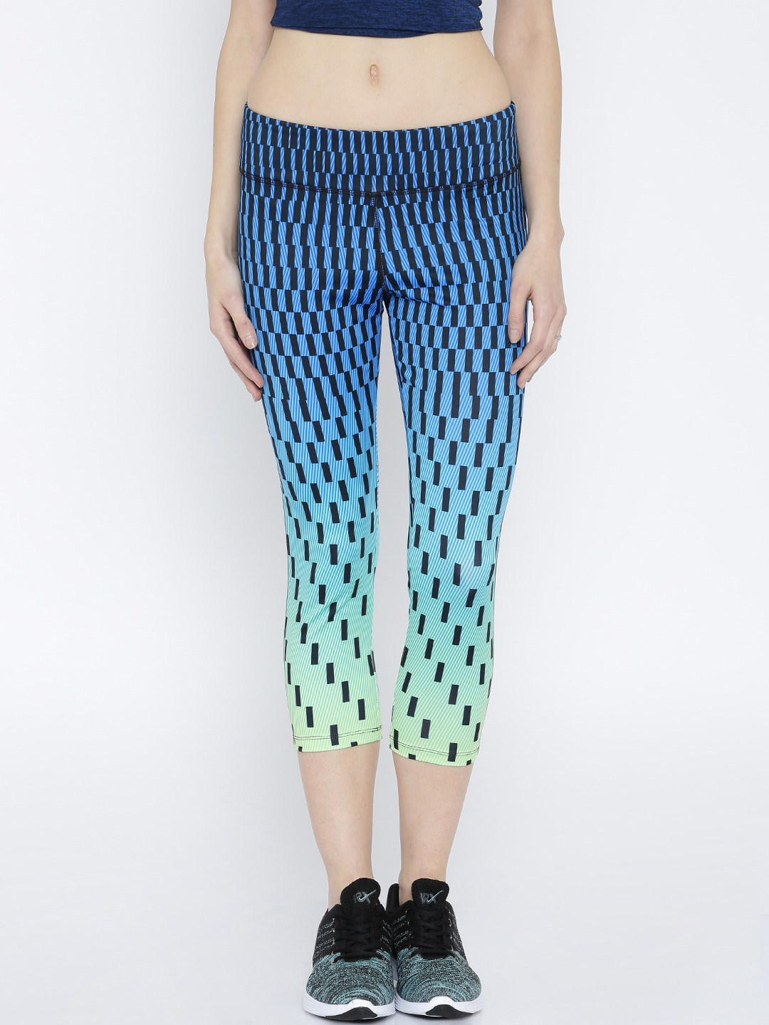 FOREVER 21 Blue & Fluorescent Blue Ombre-Dyed Printed Capris image