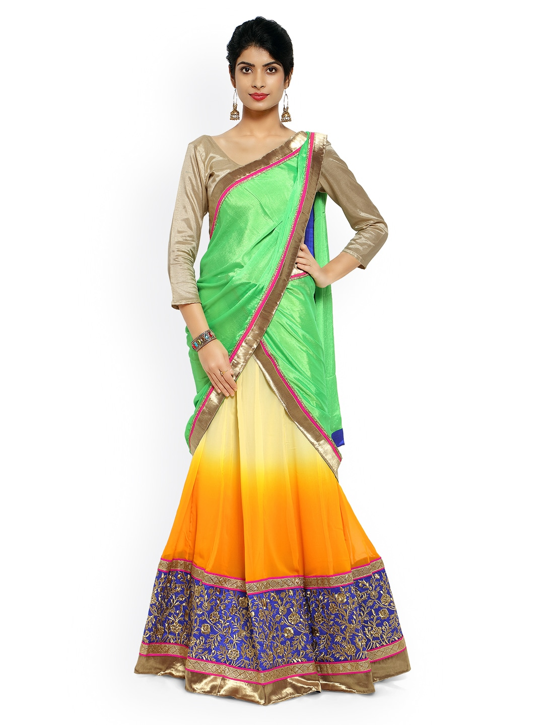 Touch Trends Multicoloured Georgette Semi-Stitched Lehenga Choli Material with Dupatta image