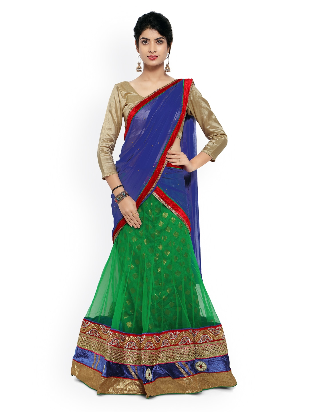 Touch Trends Green & Navy Net Semi-Stitched Lehenga Choli Material with Dupatta image