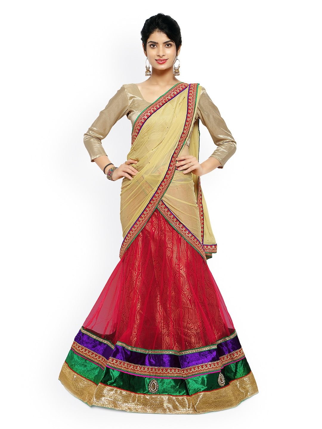 Touch Trends Maroon Net Semi-Stitched Lehenga Choli Material with Dupatta image