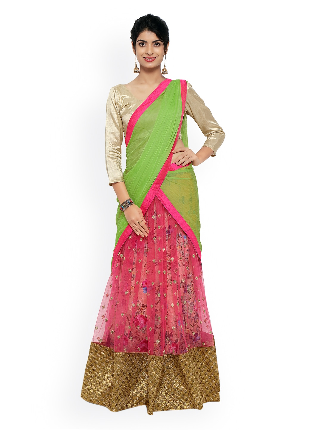 Touch Trends Pink & Green Net Semi-Stitched Lehenga Choli Material with Dupatta image